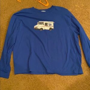 Forever 21 USPS collab mail truck blue long sleeve